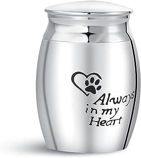 Luluadorn 小型迷你宠物缸灰烬狗猫爪印心形 Always in My Heart Cremation 礼物