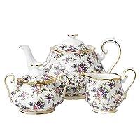 Royal Albert皇家阿尔伯特100 年 1940 茶壶、糖杯、奶精杯三件套 多色