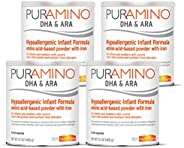 MeadJohnson 美赞臣 Enfamil 铂睿 Puramino 低变应原婴儿&幼儿奶粉-氨基酸,用于对食物严重敏感的人群-易拉罐,14.1盎司,400克(4件装)