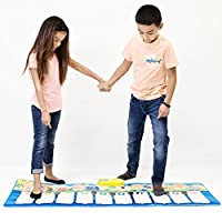 Dimple Piano 儿童游戏垫;触摸感应乐器玩具;16 种乐器声音,10 节节节奏,61 个钥匙;重量轻,便携;包括麦克风 Blue Playmat