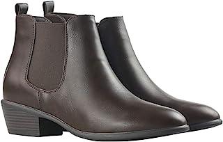女士套穿踝靴 女式低粗跟时尚弹性镶板马靴 一脚蹬鞋