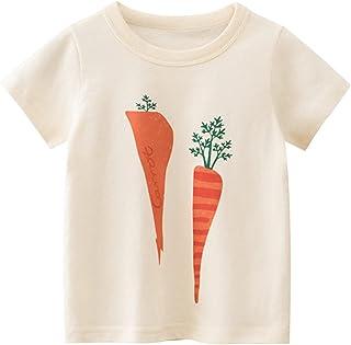 小童/幼儿男孩女孩夏季短袖棉质趣味胡萝卜 + 番茄印花 T 恤 2 件装 T 恤上衣