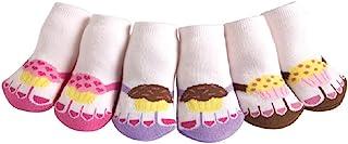 JAZZY 脚趾拖鞋纸杯蛋糕可爱宝宝和婴儿棉质短袜,一套3双装