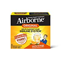 Airborne 气载橙子VC泡腾片(一盒30粒),无麸质,有益于身体的补充剂和高抗氧化剂,包装可能有所不同,1000毫克
