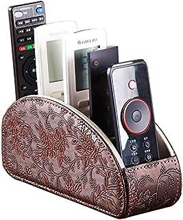 一体式皮革电视带 5 个隔层,CD 媒体播放器,遥控支架,床头柜,遥控器,收纳盒,化妆刷固定桌面控制器(棕色复古)