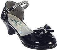 iGirldress 女孩礼服鞋高跟鞋水钻带蝴蝶结 尺码 9-5 青少年