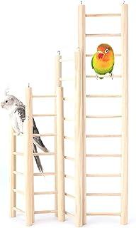 4 种不同尺寸的鸟类玩具木制梯子、长尾鹦鹉玩具、木制梯子鸟梯、天然木材鸟类攀岩玩具、鹦鹉、鹦鹉和爱情鸟