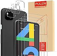 [6合1]PULEN 谷歌 Pixel 4a 屏幕保护膜(3 件装)带 3 件装相机镜头保护膜,高清透明无气泡,安装简单,防指纹,9H 硬度钢化玻璃膜