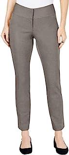 Alfani 女式正装裤橄榄色修身腿舒适弹力灰色 4 码