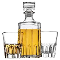 Godinger 威士忌*器和 2 个威士忌眼镜酒吧套装,意大利制造酒师,适用于Liquor Scotch Bourbon Vodka