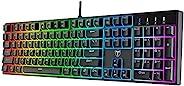 PICTEK 机械游戏键盘,有线键盘带 20 种真正的 RGB 背光模式,* 防重影键盘,带蓝色开关,适用于 Windows PC/MAC 游戏
