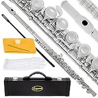 Lazarro 专业封闭孔 C 型长笛适用于乐队,带保护套、护理套件、手套和保修120-NK