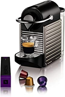 Krups 克鲁伯 Pixie 意式智能咖啡机 XN304T 19Bar泵压,自动关机功能,0.7升水箱,黑色/钛制