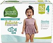 Seventh Generation 婴儿纸尿裤,4号,152 片装,一个月用量,适合敏感的肌肤