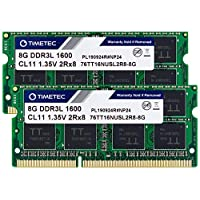 Timetec Hynix IC DDR3 1600MHz PC3-12800 Non ECC Unbuffered 1.35V CL11 2Rx8 Dual Rank 204 Pin SODIMM Laptop Notebook Computer Memory Ram Module Upgrade 16GB Kit (2x8GB)