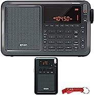 Eton Elite Executive AM/FM/Aircraft Band/SSB/短波收音机和 Eton 迷你紧凑口袋无线电套装。听世界。数字调谐,伸缩天线,明亮的 LCD 显示屏和闹钟功能。