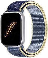 KONGAO 兼容苹果手表表带 38MM 40MM 42MM 44MM 轻质透气软尼龙替换表带 兼容 Apple Watch iWatch 系列 5 4 3 2 1 x-Alaskan Blue 42mm/44mm
