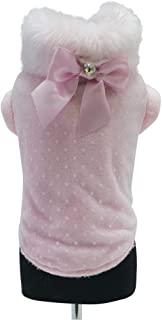 Trilly Tutti Brilli 蕾丝和长毛绒外套,带人造皮毛领,缎带施华洛世奇项链,粉红色,XS - 1 个产品