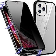 隐私磁性手机壳兼容 iPhone 12 Pro Max,防偷窥双面钢化玻璃金属保险杠框架*保护手机壳,适用于 iPhone 12 Pro Max(黑色)