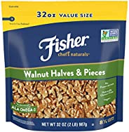 Fisher Nuts Chef's Naturals Halves & Pieces 核桃仁,32盎司,907克,天然无麸质,无防腐剂