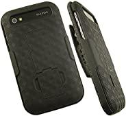 NAKEDCELLPHONE'S 黑色橡胶皮质硬壳 + 带皮带扣外壳适用于黑色古典经典 Q20 手机(Verizon、AT&T、T-Mobile、Unlocked)(SQC100-2、SQC100-3、C