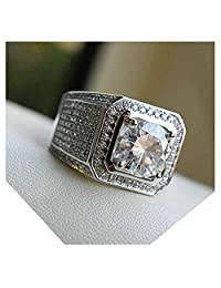 Hollywood Jewelry Iced Out 男士环嘻哈白色方晶锆石 (CZ) 宝石,镀铂金。 假日圣诞系列金饰戒指