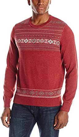 John Henry 男士 Men's Fairisle Holiday Crew Neck Sweater