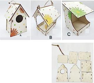 木制鸟类喂食器 3 种风格 DIY 创意鸟屋需要组装和喷绘的鸟屋