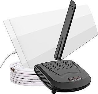 Amazboost 手机信号增强器套件(A0),适合所有美国运营商 - Verizon、AT&T、T-Mobile、Sprint 等,手机增强器适用于家庭高达 1,500 平方英尺,信号增强器