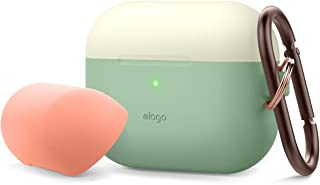 Elago Duo Hang AirPods Pro 保护套兼容苹果 Airpods Pro 保护套带钥匙扣,硅胶保护套带 1 个机身 + 2 个帽子EAPPDH-PGR-CWHPE