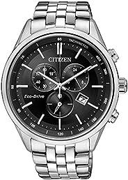 Citizen 西铁城 男士手表 计时功能 石英 不锈钢表带 AT2141-87E,黑色