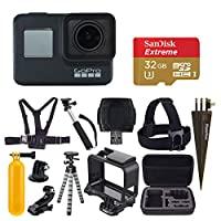 GoPro HERO7 黑色數碼動作相機帶 4K 高清視頻 12MP 照片,SanDisk 32GB Micro SD 卡,硬殼 - Gopro Hero 7 配件包