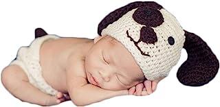 新生儿女婴男孩照片道具服装钩针编织狗狗帽短裤套装男孩女孩摄影拍摄白色