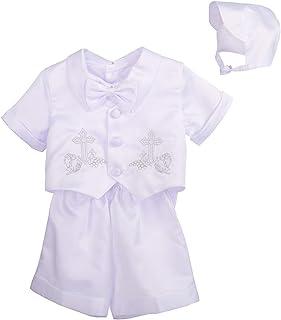Dressy Daisy 男婴 4 件套短袖和裤子洗礼套装 带帽