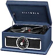 Victrola 4 合 1 怀旧广场蓝牙唱片播放器,3 速转盘和 FM 收音机,蓝色
