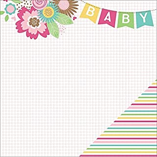 """Hello Baby Double-Sided Cardstock 12""""X12""""-Banner On Pink Grid/Pink Multi Stripe"""
