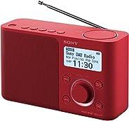 Sony 索尼 XDR-S61D 便携式数字收音机,FM/DAB/DAB+,电台存储,RDS功能,闹钟,电池和市电运行,红色