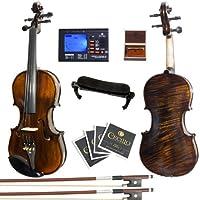 Mendini MV500+92D 火焰 1 件背部实木小提琴,带盒、调音器、肩托、蝴蝶结、玫瑰花、琴桥和琴弦4/4MV500+92D Size: 4/4 (Full Size)