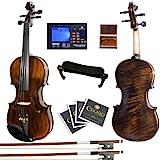 Mendini MV500+92D 火焰 1 件背部实木小提琴,带盒、调音器、肩托、蝴蝶结、玫瑰花、琴桥和琴弦4/4MV…