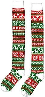 Amscan 男女通用 温暖圣诞节 袜子毛衣风格(红色,*和白色条纹)女式短袜,过膝(驯鹿,雪花和心形)