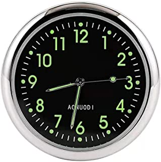 JEDEW 汽车时钟更换,迷你石英模拟汽车仪表板时间通风口粘贴时钟手表,适用于汽车内饰,通用和发光(黑色-1 件装)