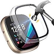 KIMILAR 2 件装硬壳兼容 Fitbit Sense/Versa 3 内置 9H 钢化玻璃屏幕保护膜超薄全保护盖防撞,适用于 Versa 3 智能手表