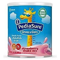 Abbott 雅培 PediaSure Grow & Gain 雅培小安素 奶粉,儿童营养奶昔,Non-GMO,无麸质,含蛋白质,益生元,DHA,抗氧化剂*,以及维生素和矿物质,草莓味,14.1盎司,400克(6份)