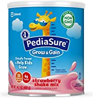 Abbott 雅培 PediaSure Grow & Gain 雅培小安素 奶粉,兒童營養奶昔,Non-GMO,無麩質,含蛋白質,益生元,DHA,抗氧化劑*,以及維生素和礦物質,草莓味,14.1盎司,400克