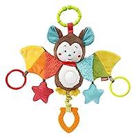 Fehn 067712 可活動玩具動物蝙蝠,掛在鏡子和戒指上的電動玩具,可以咬,抓,發出聲音,適合0個月以上的嬰幼兒
