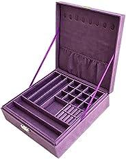 Sodynee JB2-25 双层珠宝盒收纳盒带锁,紫色(绒布)