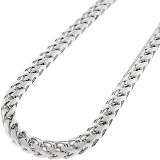 Verona Jewelers 男式 925 纯银 3 毫米 4 毫米 5 毫米 佛朗哥项链,925 圆形盒链环镀铑佛朗哥项链,男式纯银项链,925 珠宝男式