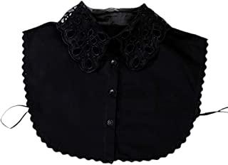 Shinywear 荷叶边高领假衬衫领蕾丝水晶珍珠装饰 Dicky 颈链可拆卸娃娃翻领衬衫