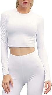 女式性感長袖工字背心露臍上衣女士基本款瑜伽休閑 T 恤女襯衫