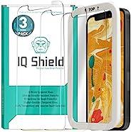 IQ Shield 钢化玻璃屏幕保护膜,适用于 Apple iPhone 12 Pro Max [V2](3 件装)(6.75 英寸(约 17 厘米),包含安装框架,防气泡,99% 透明高清,*级防碎保护膜
